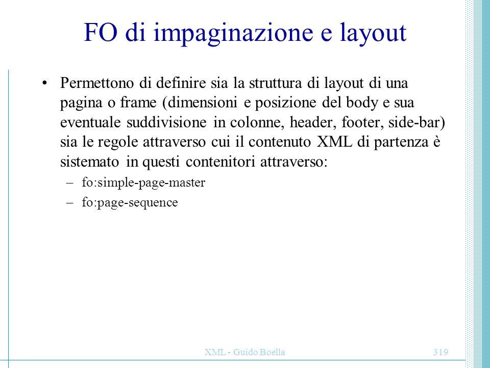 XML - Guido Boella319 FO di impaginazione e layout Permettono di definire sia la struttura di layout di una pagina o frame (dimensioni e posizione del