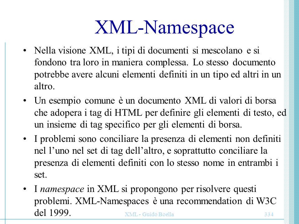 XML - Guido Boella335 Uso dei namespace Ogni nome (elementi, attributi, entità, ecc.) del documento XML è preceduto da un prefisso che specifica l'origine del nome stesso.