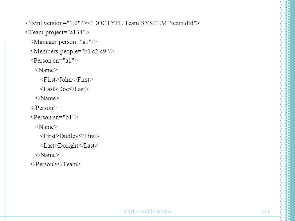 XML - Guido Boella342 John Doe 555-5319 Mary Jones 555-9013 Mike Wilson 555-4138 ESEMPIO XML con XSLXML