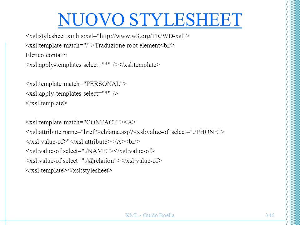 XML - Guido Boella347 XML DOM e ASP Il modello ad oggetti DOM permette di vedere un documento XML come una struttura dati di un linguaggio di programmazione (API) Il parser XML è il programma che permette di caricare il file XML, verificare la sua corrispondenza con il DTD e creare la struttura dati manipolabile da XML