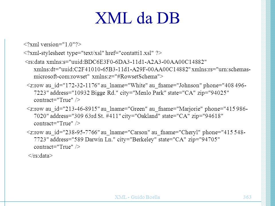 XML - Guido Boella364 XSL per XML e DB Traduzione root element Elenco contatti: chiama.asp?