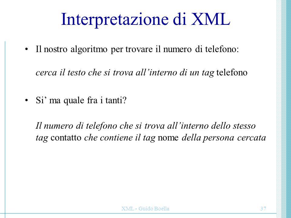 XML - Guido Boella37 Interpretazione di XML Il nostro algoritmo per trovare il numero di telefono: cerca il testo che si trova all'interno di un tag t