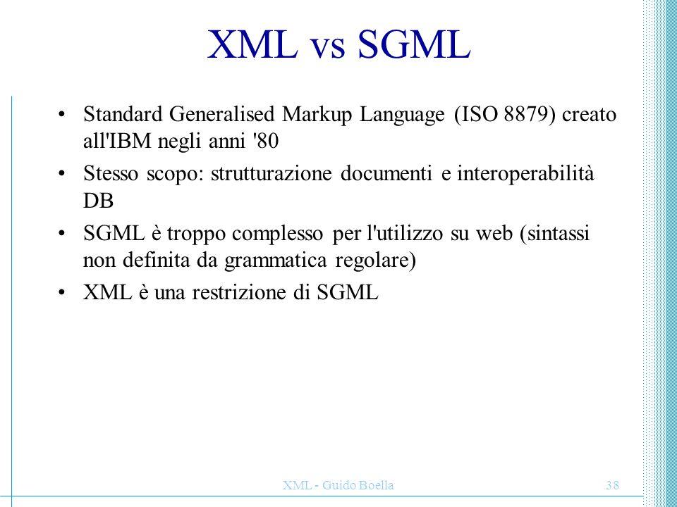 XML - Guido Boella38 XML vs SGML Standard Generalised Markup Language (ISO 8879) creato all'IBM negli anni '80 Stesso scopo: strutturazione documenti