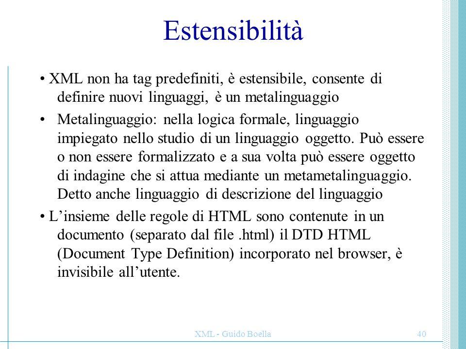 XML - Guido Boella41 Ricapitolando: limiti di HTML · non ci dice nulla sul contenuto del documento · non permette di estendere il linguaggio con tag personali · limitato come prodotto di pubblicazione · limitato come ipertesto · limitato come elaborazione · non supporta dati strutturati -> inefficiente per i motori di ricerca Serve un linguaggio semplice, flessibile HTML non verrà comunque sostituito, almeno nel più immediato futuro, perché offre il metodo più semplice per pubblicare informazioni sul Web
