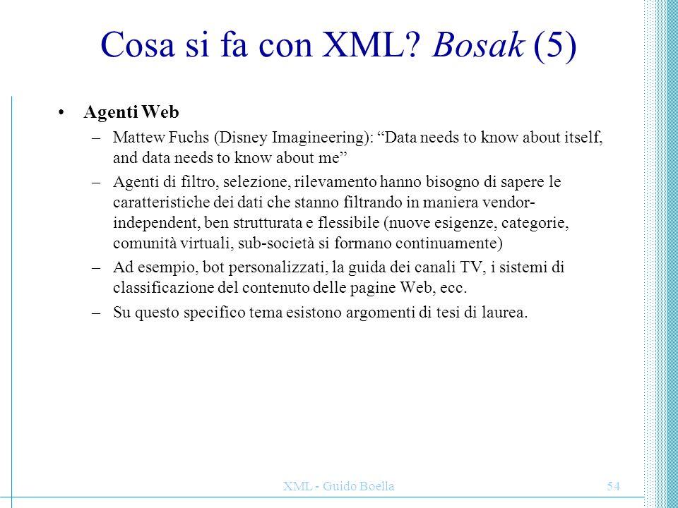 XML - Guido Boella55 Un esempio: XMLNews (1) XMLNews definisce il contenuto testuale e le meta-informazioni di notizie da agenzia stampa.