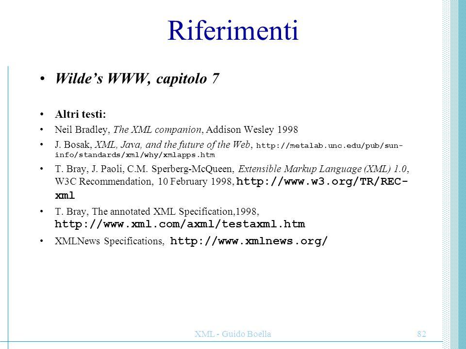XML - Guido Boella82 Riferimenti Wilde's WWW, capitolo 7 Altri testi: Neil Bradley, The XML companion, Addison Wesley 1998 J. Bosak, XML, Java, and th