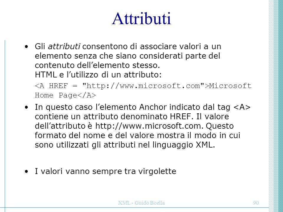 XML - Guido Boella91 coppie attributo - valore elemento NB: diversamente da HTML ogni tag va chiuso: no elemento vuoto: aperto e chiuso subito: equivale a Tag e attributi testo testo