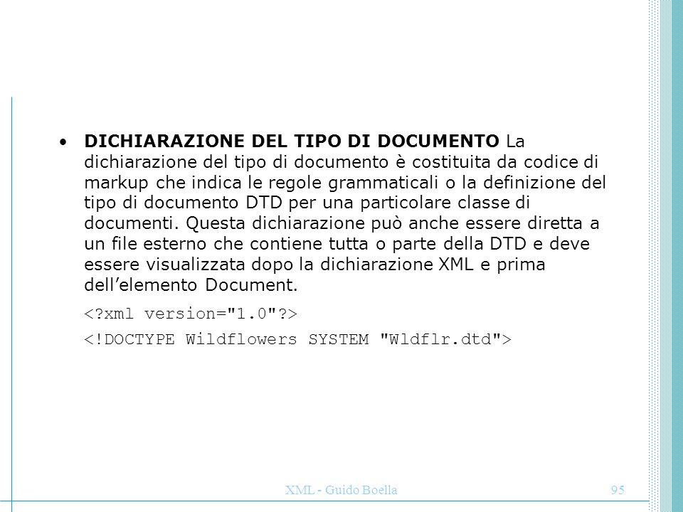 XML - Guido Boella95 DICHIARAZIONE DEL TIPO DI DOCUMENTO La dichiarazione del tipo di documento è costituita da codice di markup che indica le regole