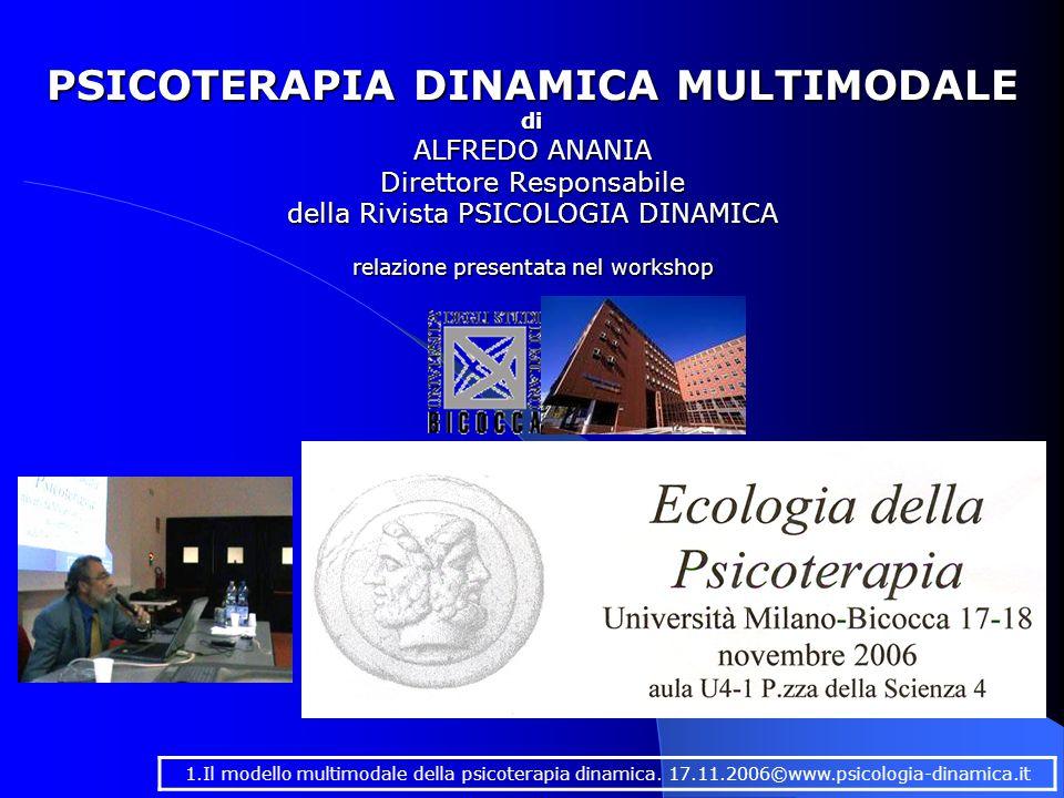 PSICOTERAPIA DINAMICA MULTIMODALE di ALFREDO ANANIA Direttore Responsabile della Rivista PSICOLOGIA DINAMICA 1.Il modello multimodale della psicoterapia dinamica.
