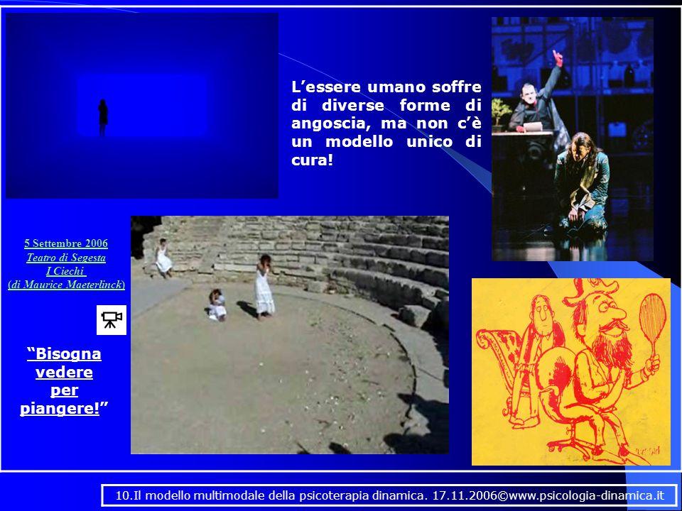 5 Settembre 2006 Teatro di Segesta I Ciechi (di Maurice Maeterlinck) Bisogna vedere per piangere! L'essere umano soffre di diverse forme di angoscia, ma non c'è un modello unico di cura.