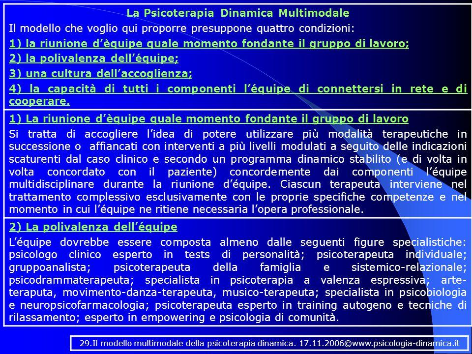 La Psicoterapia Dinamica Multimodale Il modello che voglio qui proporre presuppone quattro condizioni: 1) la riunione d'èquipe quale momento fondante il gruppo di lavoro; 2) la polivalenza dell'équipe; 3) una cultura dell'accoglienza; 4) la capacità di tutti i componenti l'équipe di connettersi in rete e di cooperare.
