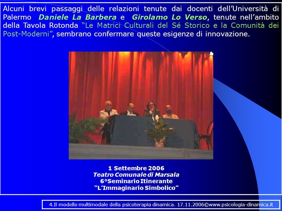 Alcuni brevi passaggi delle relazioni tenute dai docenti dell'Università di Palermo Daniele La Barbera e Girolamo Lo Verso, tenute nell'ambito della Tavola Rotonda Le Matrici Culturali del Sé Storico e la Comunità dei Post-Moderni , sembrano confermare queste esigenze di innovazione.