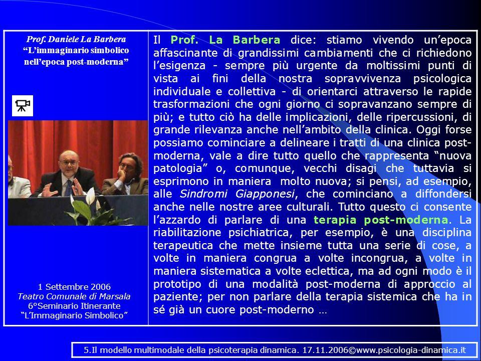 Prof. Daniele La Barbera L'immaginario simbolico nell'epoca post-moderna Il Prof.