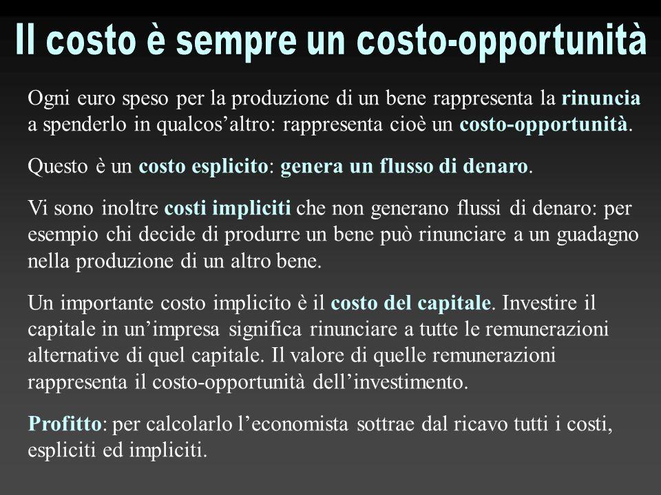 Ogni euro speso per la produzione di un bene rappresenta la rinuncia a spenderlo in qualcos'altro: rappresenta cioè un costo-opportunità. Questo è un