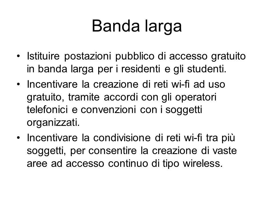 Banda larga Istituire postazioni pubblico di accesso gratuito in banda larga per i residenti e gli studenti.