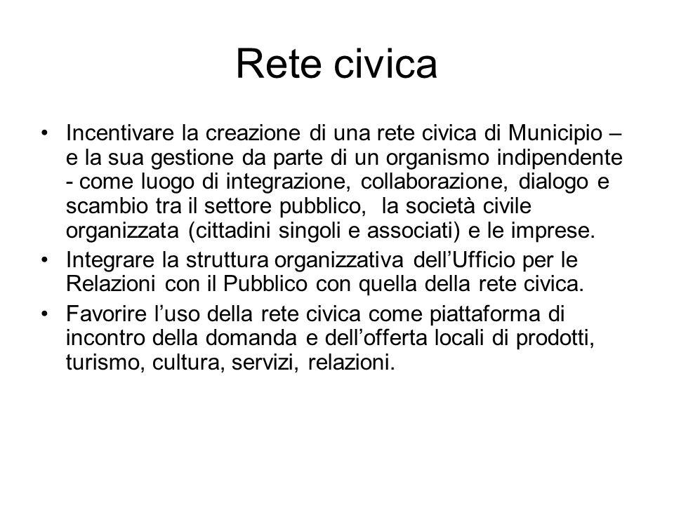 Rete civica Incentivare la creazione di una rete civica di Municipio – e la sua gestione da parte di un organismo indipendente - come luogo di integrazione, collaborazione, dialogo e scambio tra il settore pubblico, la società civile organizzata (cittadini singoli e associati) e le imprese.