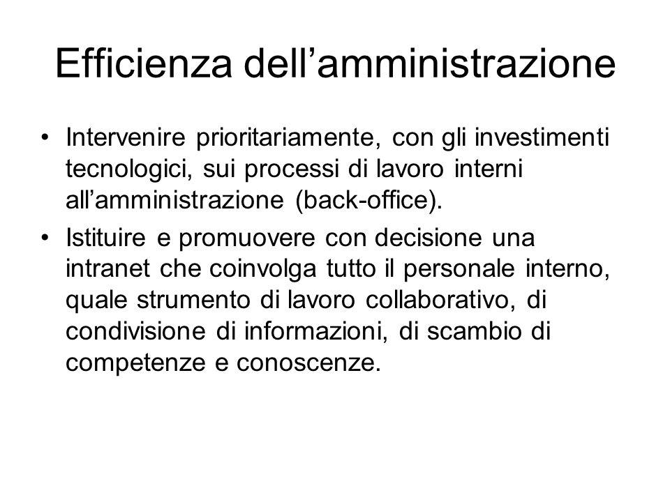 Efficienza dell'amministrazione Intervenire prioritariamente, con gli investimenti tecnologici, sui processi di lavoro interni all'amministrazione (back-office).
