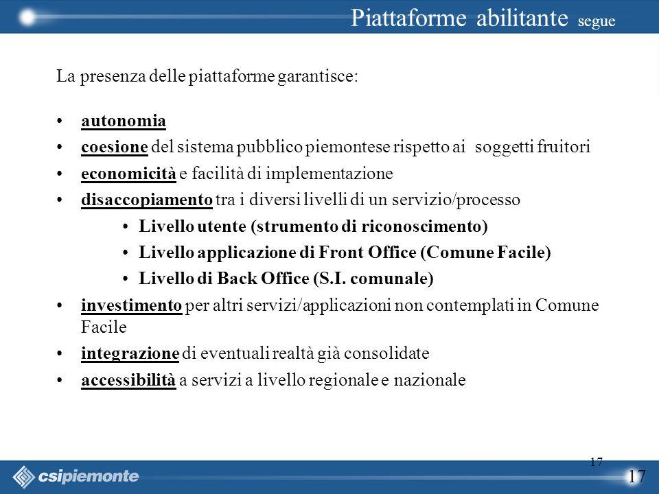 17 La presenza delle piattaforme garantisce: autonomia coesione del sistema pubblico piemontese rispetto ai soggetti fruitori economicità e facilità d