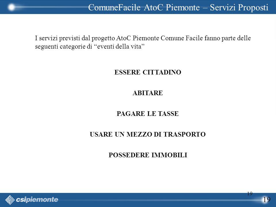 """19 I servizi previsti dal progetto AtoC Piemonte Comune Facile fanno parte delle seguenti categorie di """"eventi della vita"""" ESSERE CITTADINO ABITARE PA"""