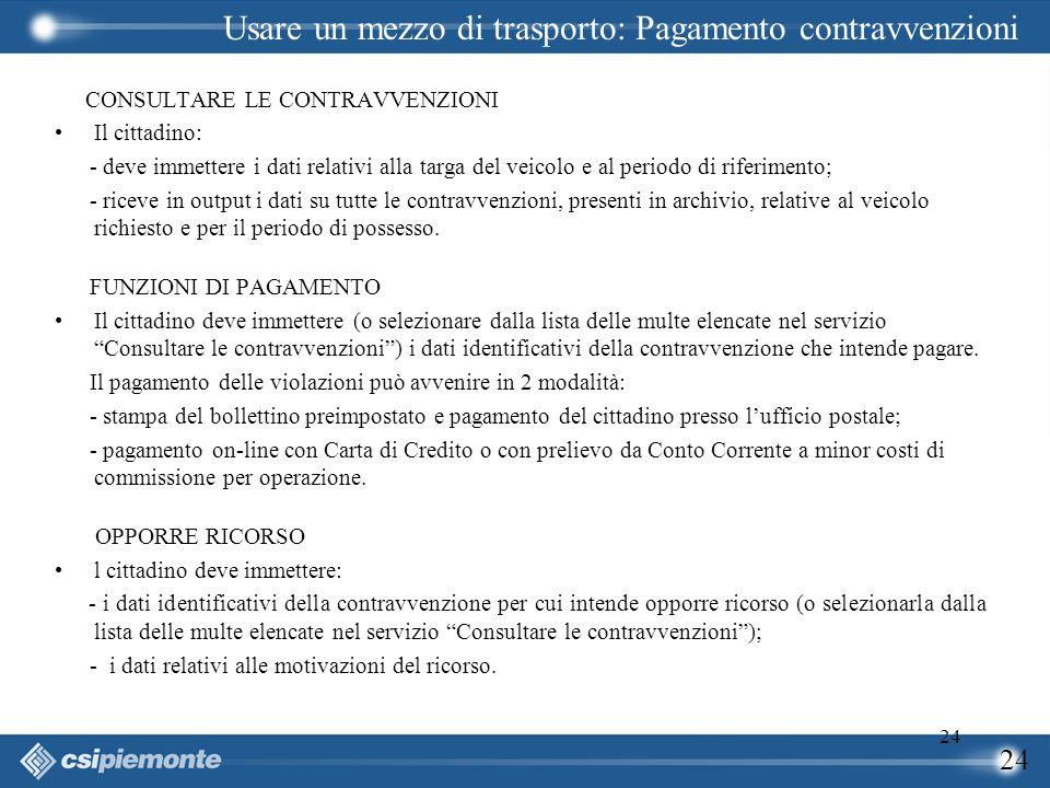 24 CONSULTARE LE CONTRAVVENZIONI Il cittadino: - deve immettere i dati relativi alla targa del veicolo e al periodo di riferimento; - riceve in output