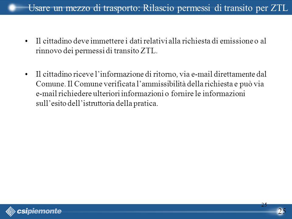 25 Il cittadino deve immettere i dati relativi alla richiesta di emissione o al rinnovo dei permessi di transito ZTL. Il cittadino riceve l'informazio