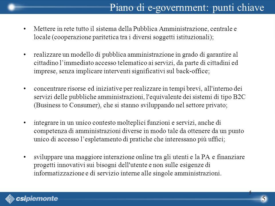 5 5 Mettere in rete tutto il sistema della Pubblica Amministrazione, centrale e locale (cooperazione paritetica tra i diversi soggetti istituzionali);