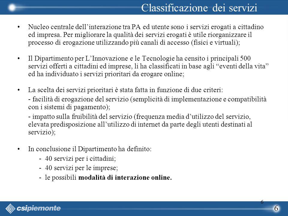 6 6 Nucleo centrale dell'interazione tra PA ed utente sono i servizi erogati a cittadino ed impresa. Per migliorare la qualità dei servizi erogati è u