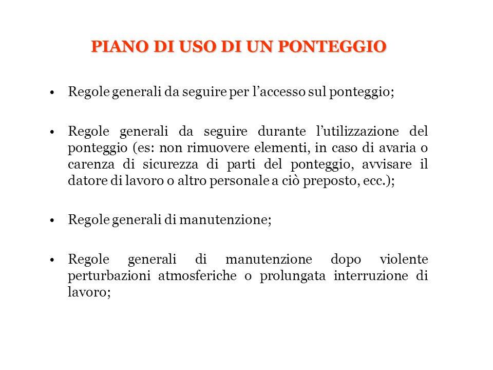 PIANO DI USO DI UN PONTEGGIO Regole generali da seguire per l'accesso sul ponteggio; Regole generali da seguire durante l'utilizzazione del ponteggio