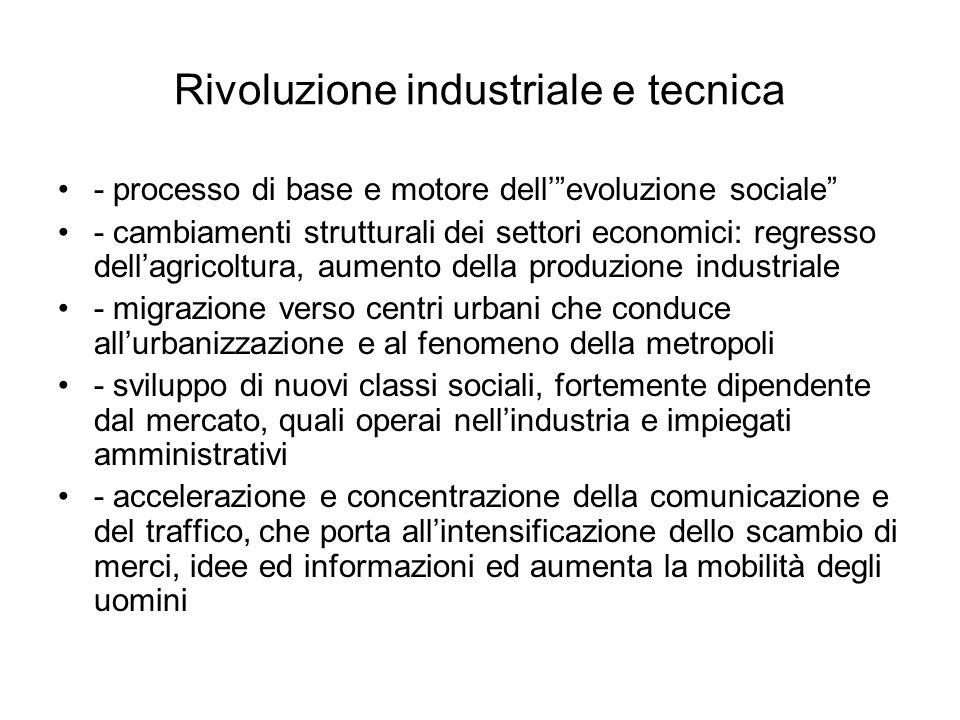 """Rivoluzione industriale e tecnica - processo di base e motore dell'""""evoluzione sociale"""" - cambiamenti strutturali dei settori economici: regresso dell"""