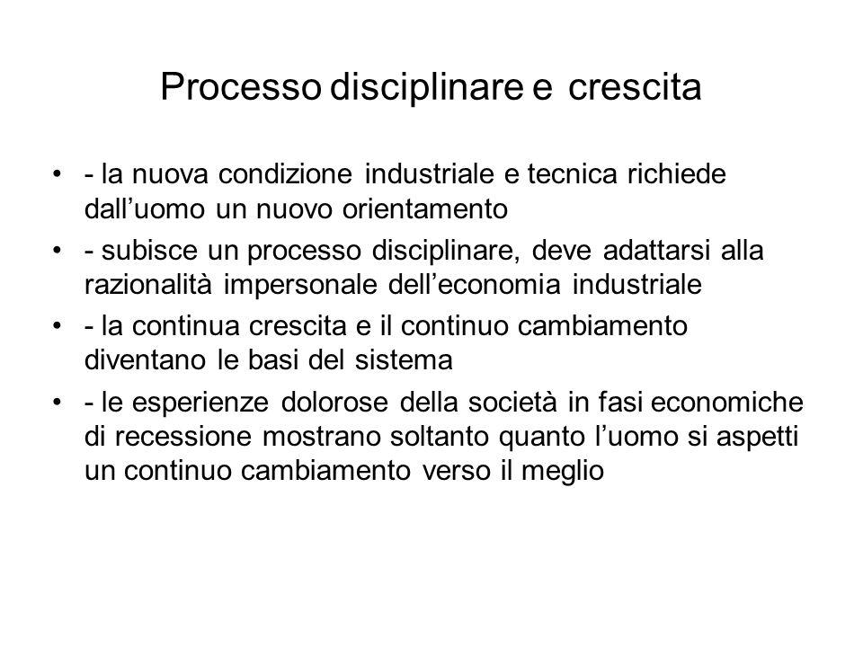 Processo disciplinare e crescita - la nuova condizione industriale e tecnica richiede dall'uomo un nuovo orientamento - subisce un processo disciplina