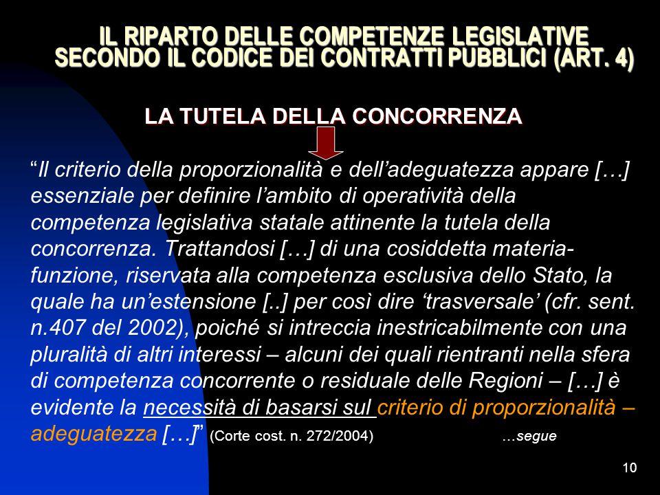 """10 IL RIPARTO DELLE COMPETENZE LEGISLATIVE SECONDO IL CODICE DEI CONTRATTI PUBBLICI (ART. 4) LA TUTELA DELLA CONCORRENZA """"Il criterio della proporzion"""