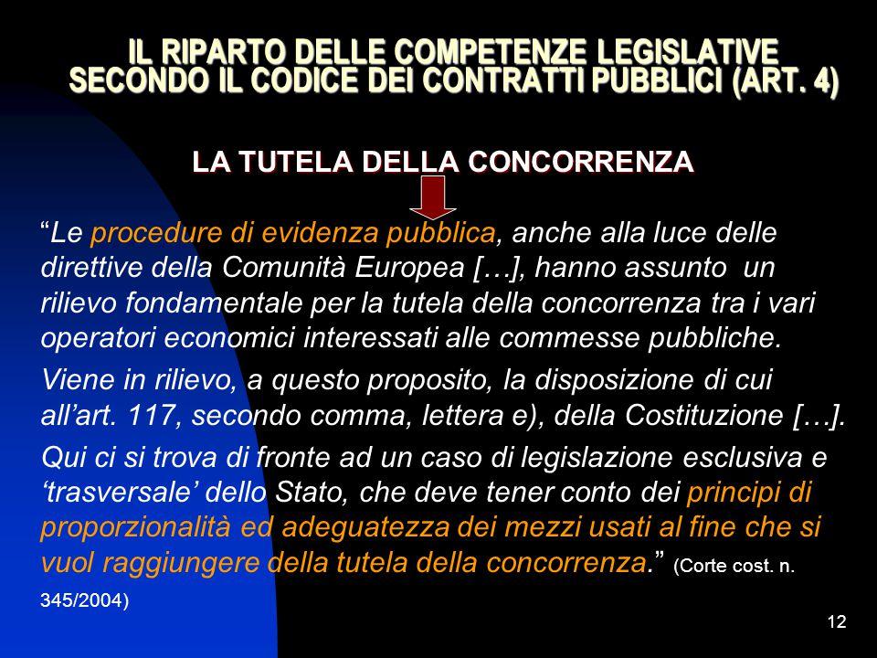"""12 IL RIPARTO DELLE COMPETENZE LEGISLATIVE SECONDO IL CODICE DEI CONTRATTI PUBBLICI (ART. 4) LA TUTELA DELLA CONCORRENZA """"Le procedure di evidenza pub"""