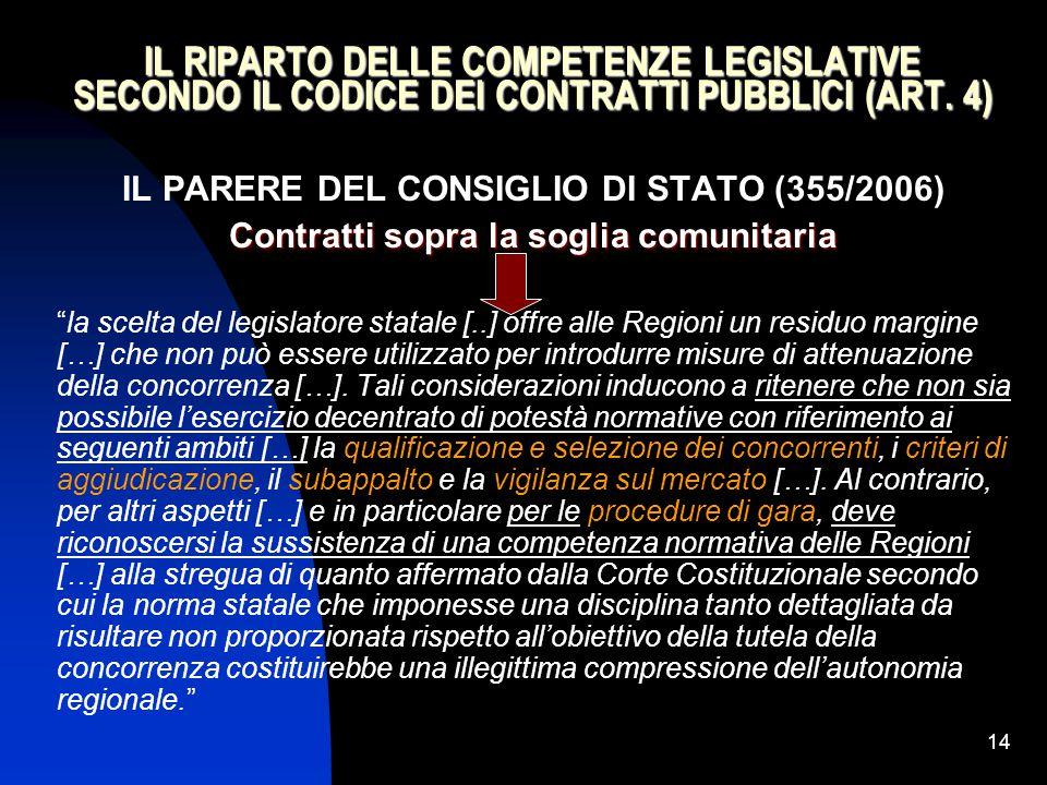 14 IL RIPARTO DELLE COMPETENZE LEGISLATIVE SECONDO IL CODICE DEI CONTRATTI PUBBLICI (ART. 4) IL PARERE DEL CONSIGLIO DI STATO (355/2006) Contratti sop