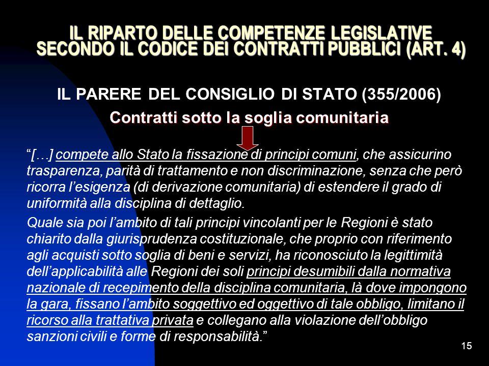 15 IL RIPARTO DELLE COMPETENZE LEGISLATIVE SECONDO IL CODICE DEI CONTRATTI PUBBLICI (ART. 4) IL PARERE DEL CONSIGLIO DI STATO (355/2006) Contratti sot