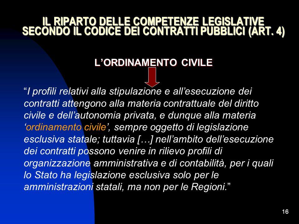 """16 IL RIPARTO DELLE COMPETENZE LEGISLATIVE SECONDO IL CODICE DEI CONTRATTI PUBBLICI (ART. 4) L'ORDINAMENTO CIVILE """"I profili relativi alla stipulazion"""