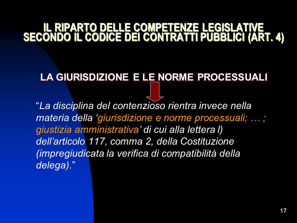 """17 IL RIPARTO DELLE COMPETENZE LEGISLATIVE SECONDO IL CODICE DEI CONTRATTI PUBBLICI (ART. 4) LA GIURISDIZIONE E LE NORME PROCESSUALI """"La disciplina de"""