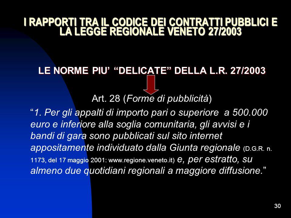 """30 I RAPPORTI TRA IL CODICE DEI CONTRATTI PUBBLICI E LA LEGGE REGIONALE VENETO 27/2003 LE NORME PIU' """"DELICATE"""" DELLA L.R. 27/2003 Art. 28 (Forme di p"""