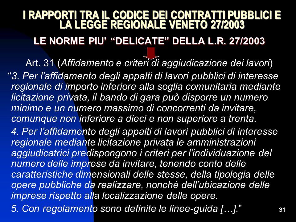 """31 I RAPPORTI TRA IL CODICE DEI CONTRATTI PUBBLICI E LA LEGGE REGIONALE VENETO 27/2003 LE NORME PIU' """"DELICATE"""" DELLA L.R. 27/2003 Art. 31 (Affidament"""