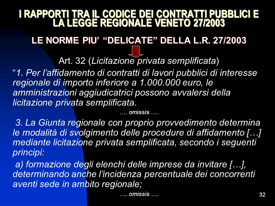 """32 I RAPPORTI TRA IL CODICE DEI CONTRATTI PUBBLICI E LA LEGGE REGIONALE VENETO 27/2003 LE NORME PIU' """"DELICATE"""" DELLA L.R. 27/2003 Art. 32 (Licitazion"""