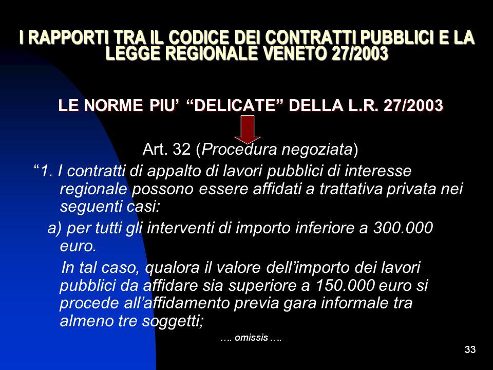 """33 I RAPPORTI TRA IL CODICE DEI CONTRATTI PUBBLICI E LA LEGGE REGIONALE VENETO 27/2003 LE NORME PIU' """"DELICATE"""" DELLA L.R. 27/2003 Art. 32 (Procedura"""