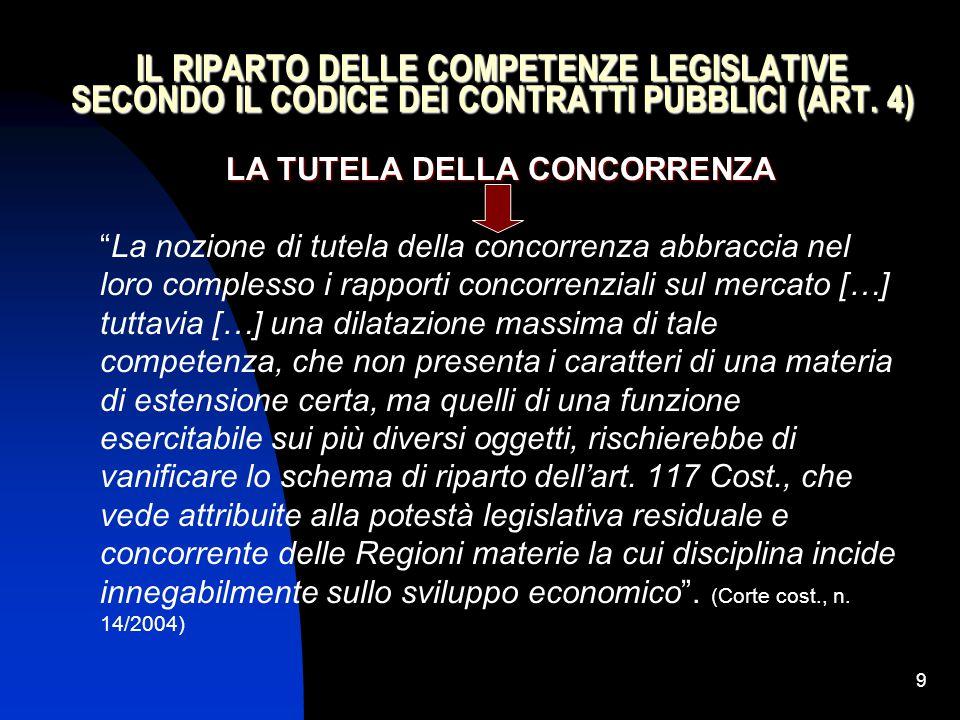 """9 IL RIPARTO DELLE COMPETENZE LEGISLATIVE SECONDO IL CODICE DEI CONTRATTI PUBBLICI (ART. 4) LA TUTELA DELLA CONCORRENZA """"La nozione di tutela della co"""