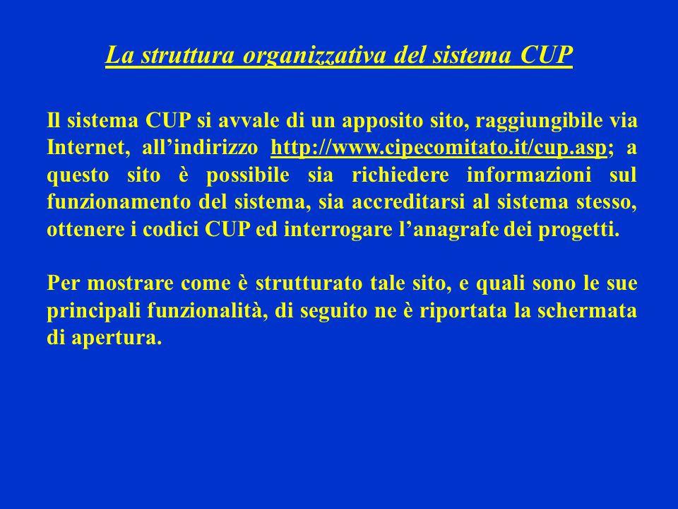 La struttura organizzativa del sistema CUP Il sistema CUP si avvale di un apposito sito, raggiungibile via Internet, all'indirizzo http://www.cipecomi