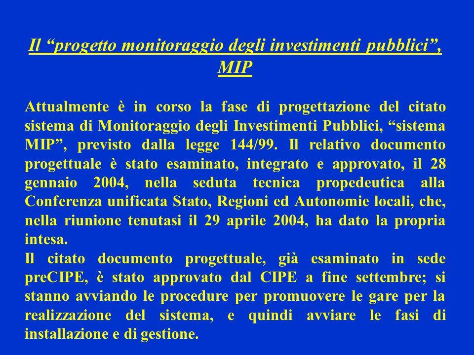 """Il """"progetto monitoraggio degli investimenti pubblici"""", MIP Attualmente è in corso la fase di progettazione del citato sistema di Monitoraggio degli I"""
