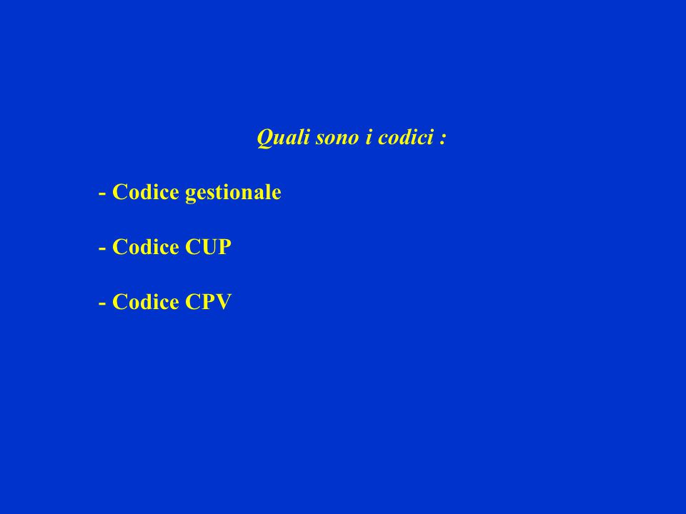 Quali sono i codici : - Codice gestionale - Codice CUP - Codice CPV