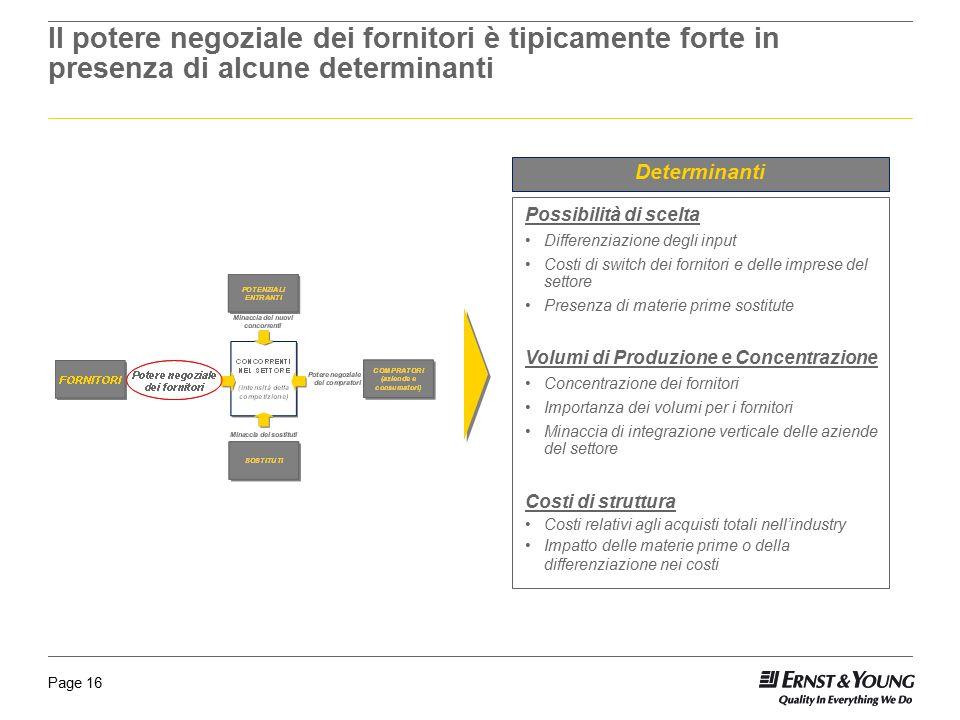 Page 16 Il potere negoziale dei fornitori è tipicamente forte in presenza di alcune determinanti Determinanti Possibilità di scelta Differenziazione d