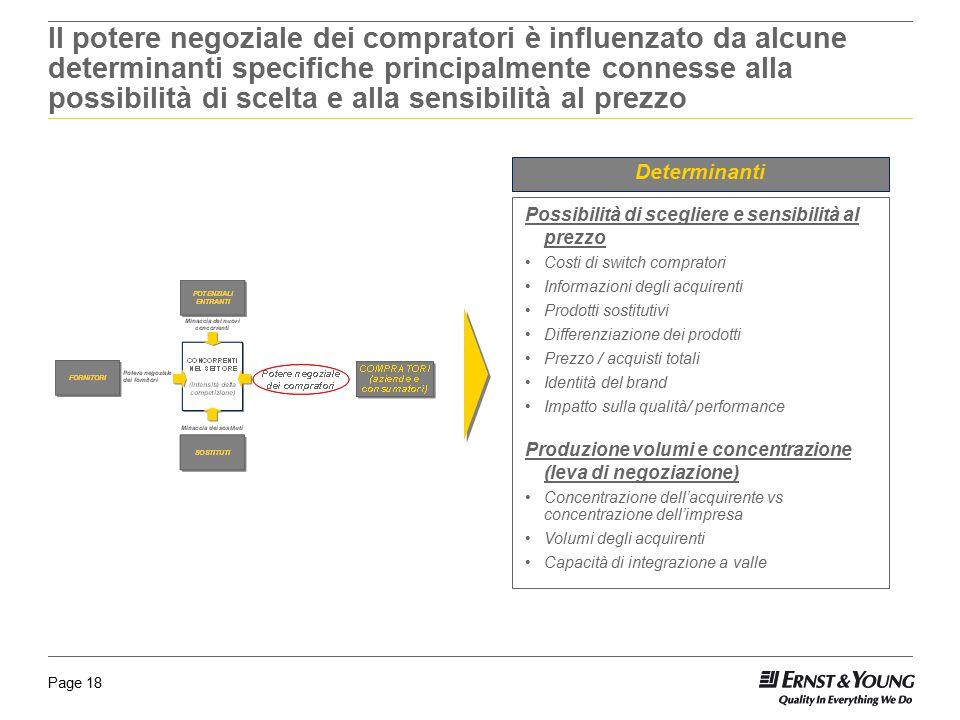 Page 18 Il potere negoziale dei compratori è influenzato da alcune determinanti specifiche principalmente connesse alla possibilità di scelta e alla s
