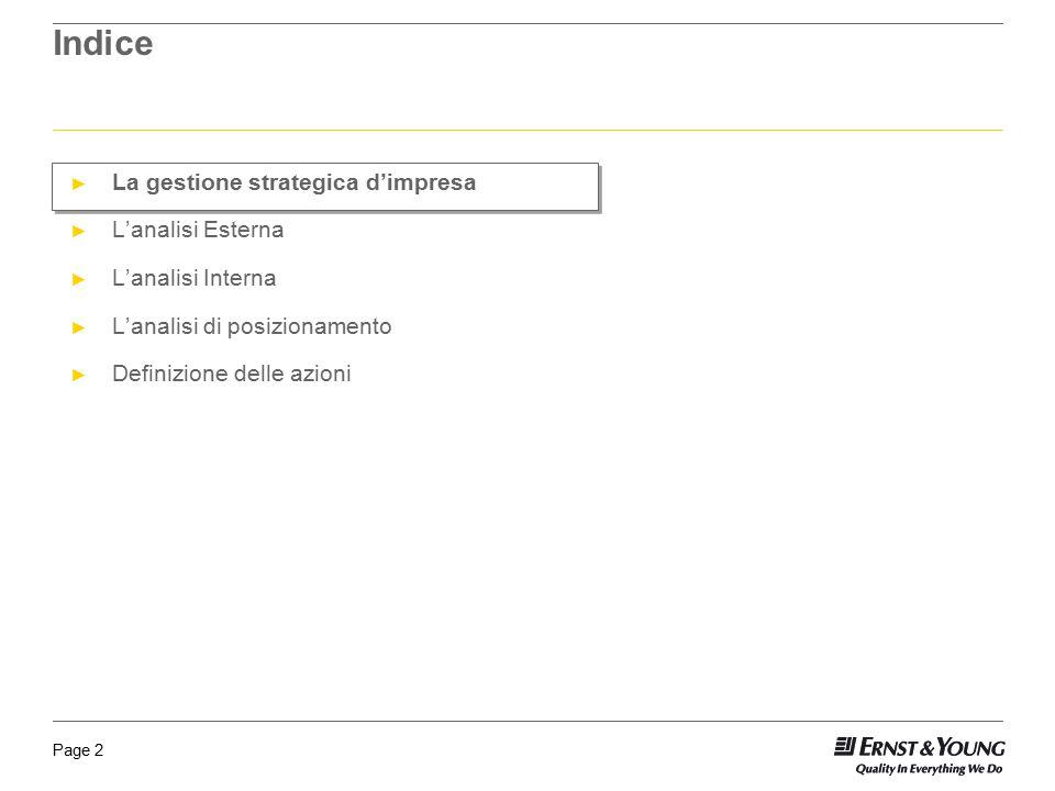 Page 2 Indice ► La gestione strategica d'impresa ► L'analisi Esterna ► L'analisi Interna ► L'analisi di posizionamento ► Definizione delle azioni
