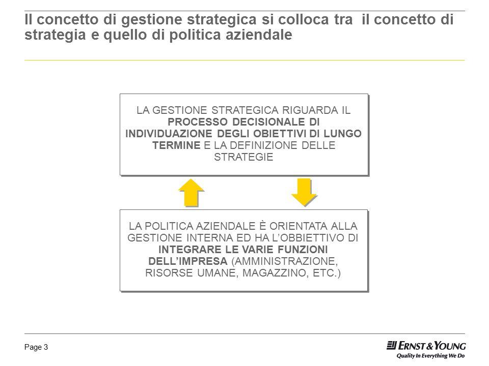 Page 3 Il concetto di gestione strategica si colloca tra il concetto di strategia e quello di politica aziendale LA GESTIONE STRATEGICA RIGUARDA IL PR