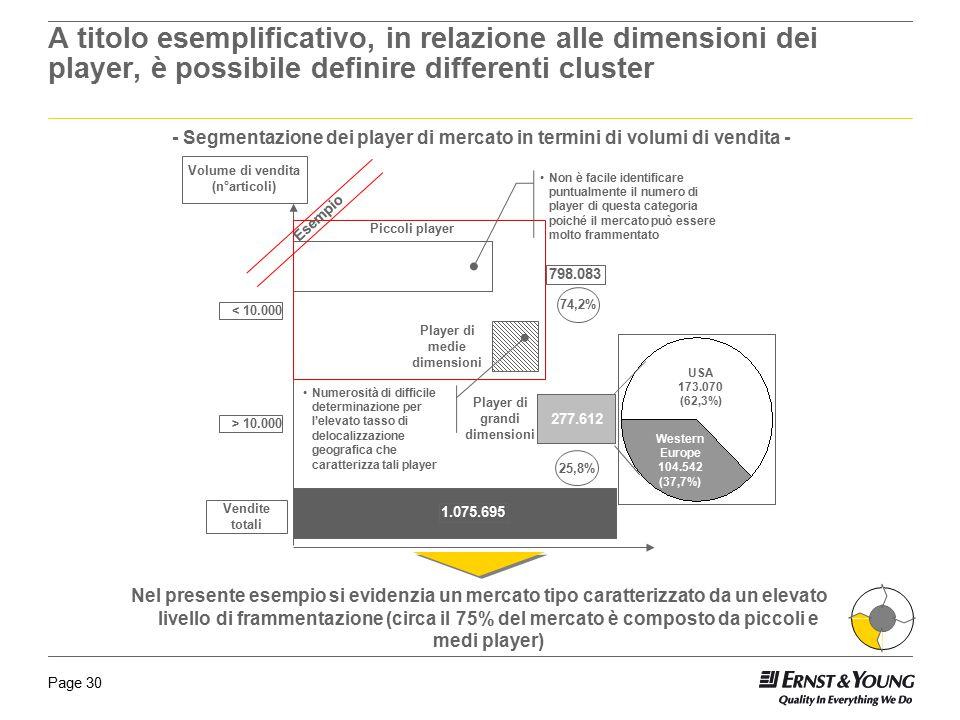 Page 30 A titolo esemplificativo, in relazione alle dimensioni dei player, è possibile definire differenti cluster - Segmentazione dei player di merca