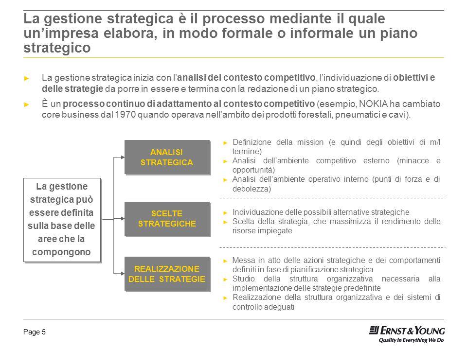 Page 5 La gestione strategica è il processo mediante il quale un'impresa elabora, in modo formale o informale un piano strategico ► La gestione strate